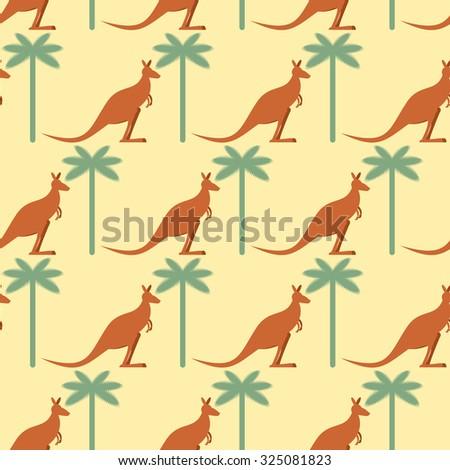 Kangaroo and Palma seamless pattern. Australian marsupial animal Stock photo © popaukropa