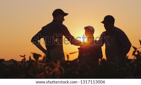 Mujer de negocios apretón de manos agricultor hombre granja éxito Foto stock © IS2