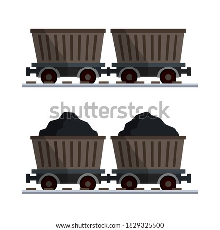 Mining Trolley empty isolated. Mining Extraction mineral. Vector Stock photo © MaryValery