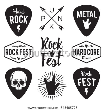 Skull with guitars and rock hand symbol. Logo for rock band. Log Stock photo © popaukropa