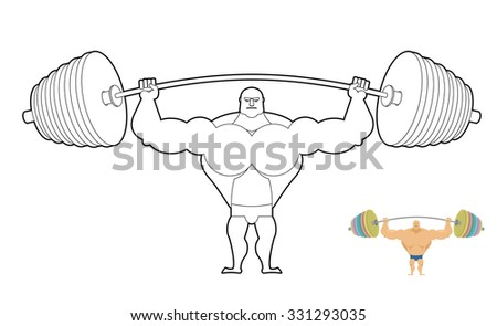Athlete barbell coloring book. Bodybuilder harvests. Strong man  Stock photo © popaukropa