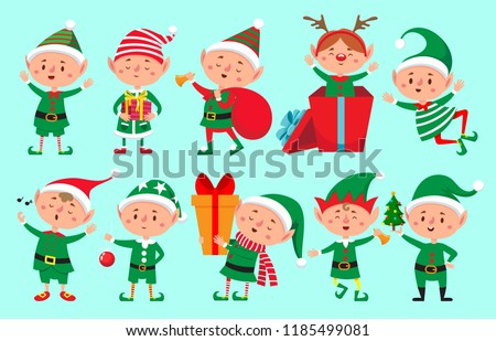 Christmas stocking and Santa Elf set. Little Claus helper. tradi Stock photo © popaukropa