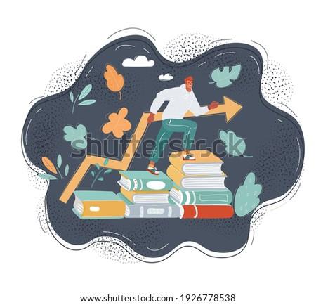 Zakenman trap boeken kennis opleiding illustratie Stockfoto © MaryValery