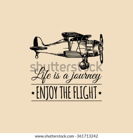 vintage airplane poster and lettering for printing vector prints old school aircraft t shirt retr stock photo © jeksongraphics