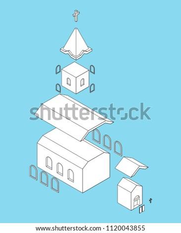Stockfoto: Church Structure Parts Isometrics Catholic Christian House Relig