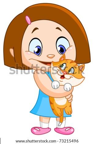 Küçük kız kedi kadın çocuk evcil hayvan Stok fotoğraf © MaryValery