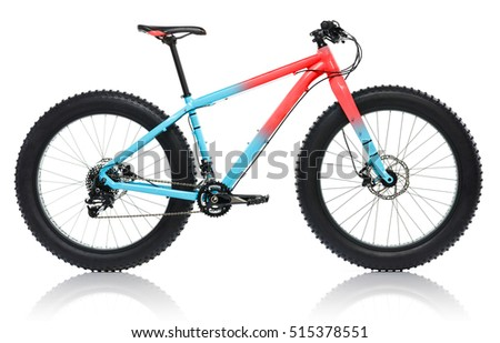New blue with red bicycle with thick tires for snow ride isolate Stock photo © vlad_star