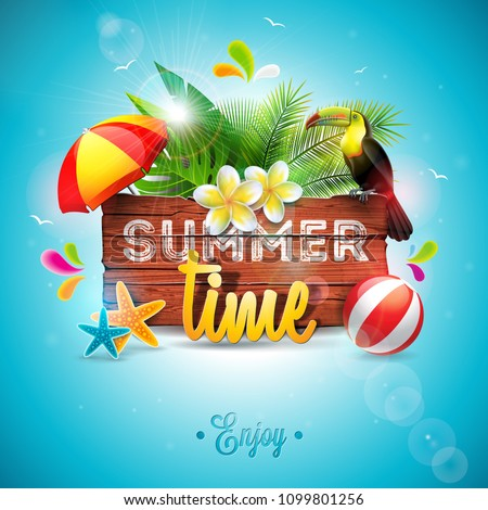 vector summer time holiday typographic illustration with toucan bird and flower on tropical plants b stock photo © articular