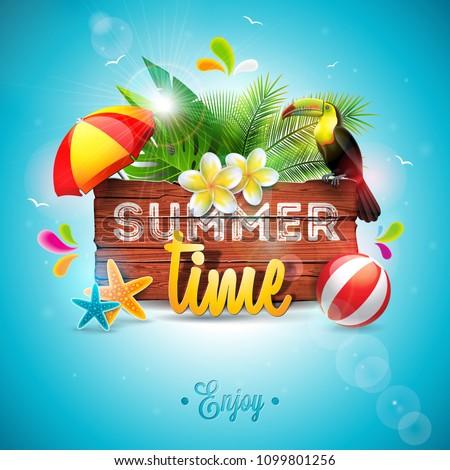Vecteur été temps vacances typographique illustration Photo stock © articular