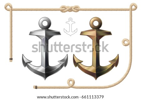 ships anchor and rope isolated on transparent background detailed vector illustration for your desi stock photo © articular