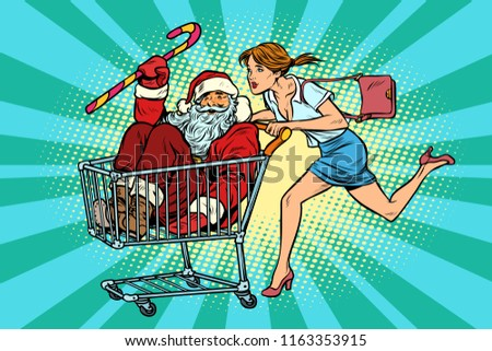Christmas sale. The woman bought Santa Claus. shopping cart trol Stock photo © studiostoks