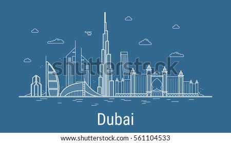 Burj Khalifa tower Dubai. Skyscraper silhouette, famous building. Vector Stock photo © Andrei_