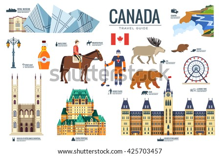 Country Canada travel vacation guide of goods, places and features. Set of architecture, fashion, pe Stock photo © Linetale