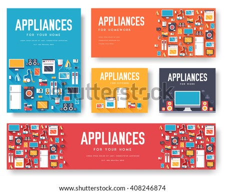 Home appliances cards set. Electronics template of flyear, magazines, posters, book cover, banners.  Stock photo © Linetale
