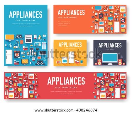 Háztartási gépek kártyák szett elektronika sablon magazinok Stock fotó © Linetale