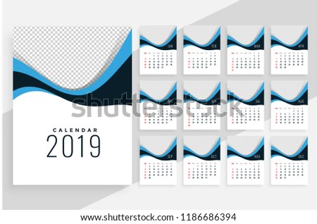 stylish wavy 2019 calendar design with each month as seperate Stock photo © SArts