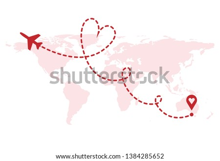 Airplane path in dashed line shape on world map. Route of paper plane with world map isolated on whi stock photo © olehsvetiukha