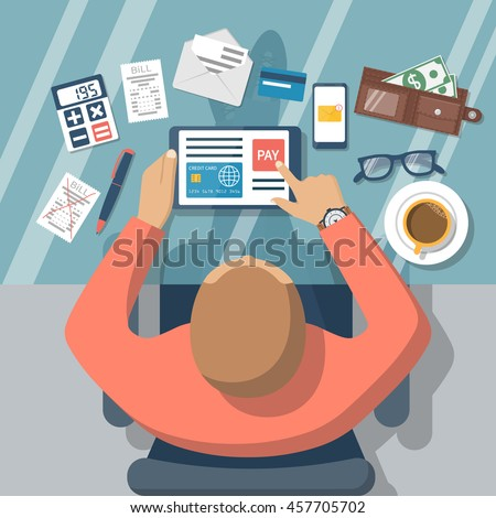 Mobile payment concept. Pay bills on line. Using a mobile phone to bank and shop on line. Flat vecto stock photo © makyzz