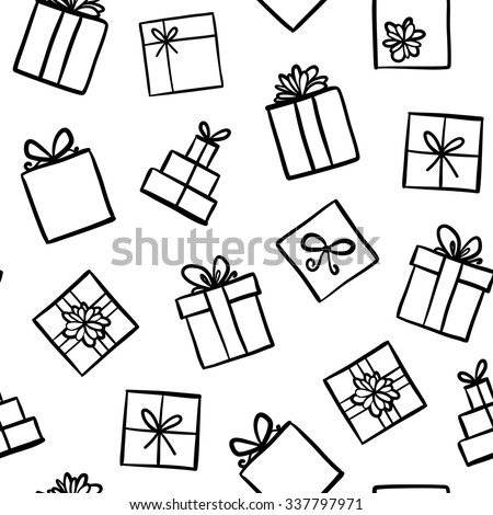 Seamless pattern with different textured gift boxes. Hand drawn elements. Background with holiday de Stock photo © user_10144511