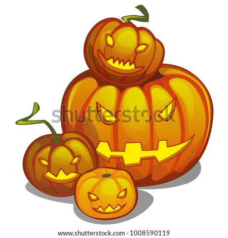 set of ripe pumpkins food and jack o lantern attribute of holiday of halloween healthy eating and stock photo © lady-luck