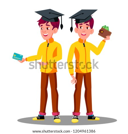 smiling student in graduation cap with a credit card and wallet in hand vector isolated illustratio stock photo © pikepicture