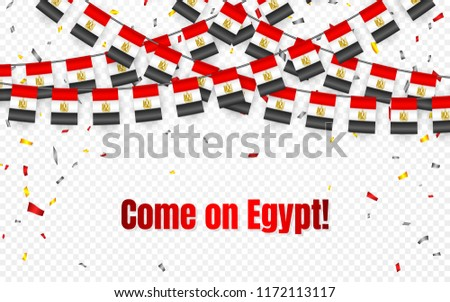 Egypt garland flag with confetti on transparent background, Hang bunting for celebration template ba Stock photo © olehsvetiukha