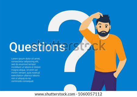 Man standing near big question symbol and he needs to ask for help or advice via live chat, help des Stock photo © makyzz