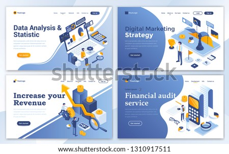 isometric vector landing page for audit data analysis time management stock photo © tarikvision
