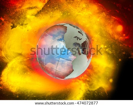 Nuclear explosion on planet earth. War in world. large red explo Stock photo © MaryValery