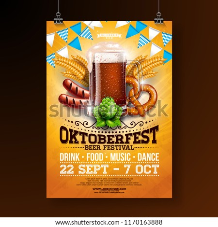 Oktoberfest party poster illustration with fresh dark beer, pretzel, sausage and blue and white part Stock photo © articular
