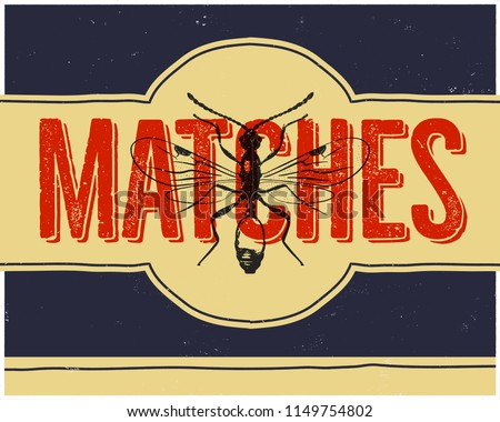 Matchbox design and matches with insect in retro style. Top view. Vintage habd drawn illustration. S Stock photo © JeksonGraphics