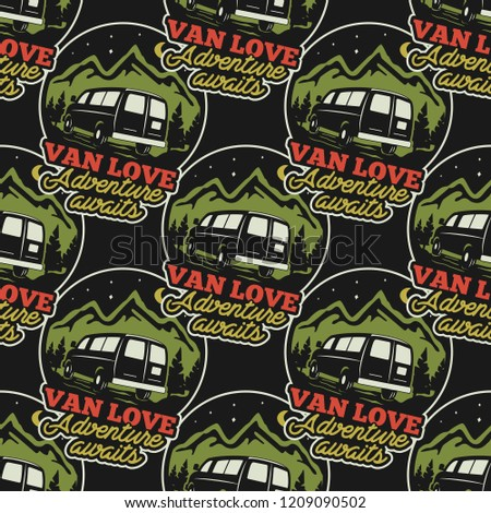 vintage hand drawn travel seamless van life adventure pattern concepts stock vector camping wallpa stock photo © jeksongraphics