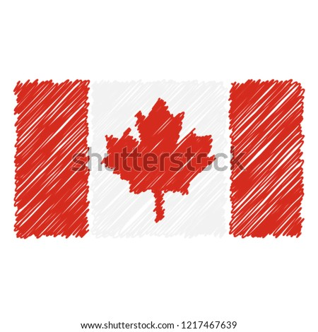 hand drawn national flag of canada isolated on a white background vector sketch style illustration stock photo © garumna