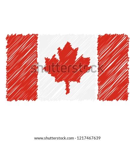 Foto stock: Dibujado · a · mano · bandera · Canadá · aislado · blanco · vector