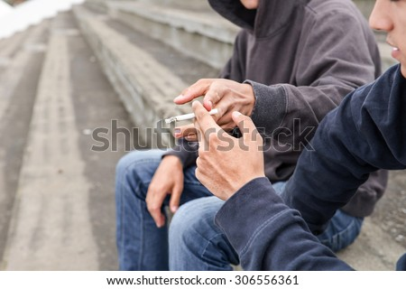 Two Teenagers Smoking, Nicotine Addiction Vector. Isolated Illustration Stock photo © pikepicture