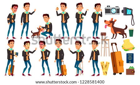 asian teen boy poses set vector active expression for presentation print invitation design iso stock photo © pikepicture