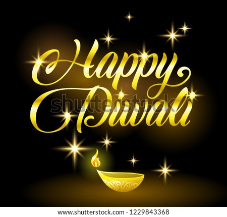 Stock photo: Golden Happy Diwali congratulation with stars on black background