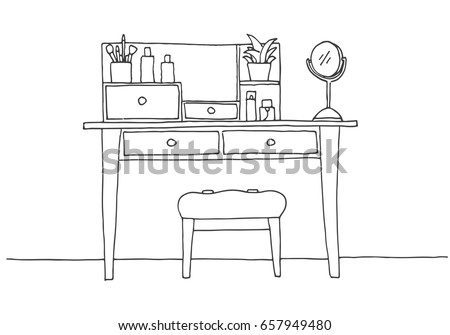 dressing table in sketch style vector illustration is hand draw stock photo © arkadivna