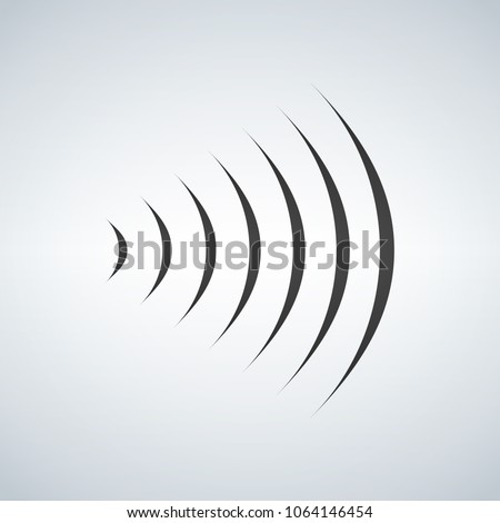 Stock photo: wifi sound signal connection, sound radio wave logo symbol. vector illustration isolated on modern b