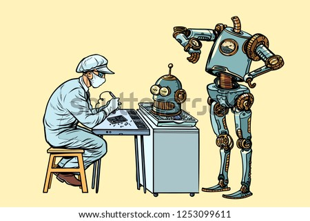 The robot came to repair the head. Electronics engineer speciali Stock photo © studiostoks