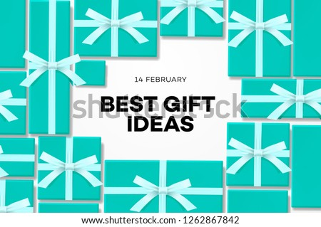 Valentines day sale banner, best gift ideas, sweet blue gift box, candles, gift certificate, confett Stock photo © ikopylov