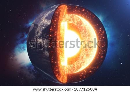 aarde · kern · zwarte · brand · kaart · wereld - stockfoto © maryvalery