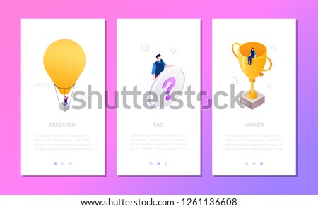 Business situations - set of isometric vector vertical web banners Stock photo © Decorwithme