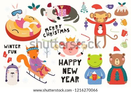 ストックフォト: セット · かわいい · 子供 · 猿 · 演奏 · クリスマス
