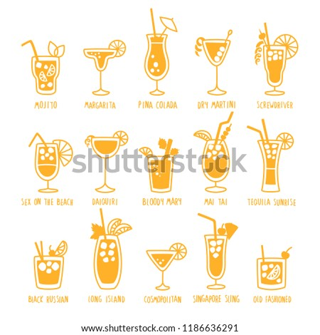 Coctail Icons Set Vector. Summer Alcoholic Drink. Holiday Beach Party Menu. Isolated Flat Cartoon Il Stock photo © pikepicture