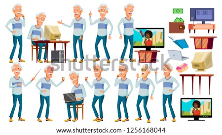 Asian Old Man Poses Set Vector. Gray Hair. Elderly People. Senior Person. Aged. Positive Pensioner.  Stock photo © pikepicture