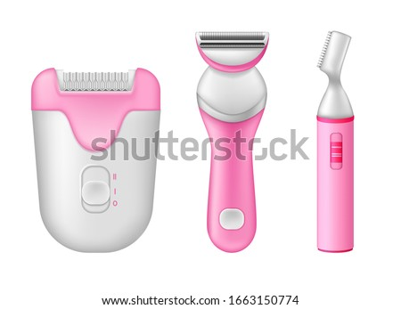 Razor Set Vector. Male, Female Smooth Razor Mockup. Electric Shaver And Manual Shaving. Depilation B Stock photo © pikepicture