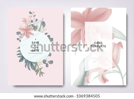 Stok fotoğraf: Card For Invitation Or Congratulation With Pink Lilies