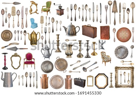 set of vintage furniture interior items isolated on white background vector cartoon close up illust foto d'archivio © lady-luck