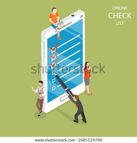 Isometric flat vector concept of mobile checklist, task successful completion. Stock photo © TarikVision